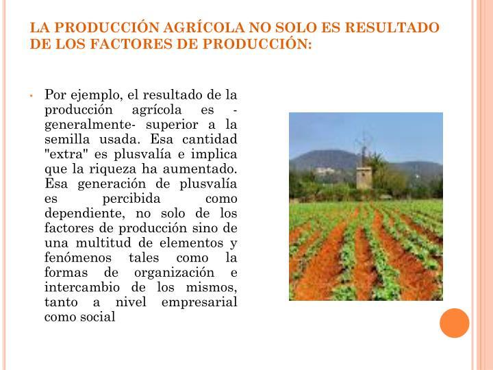 LA PRODUCCIÓN AGRÍCOLA NO SOLO ES RESULTADO DE LOS FACTORES DE PRODUCCIÓN: