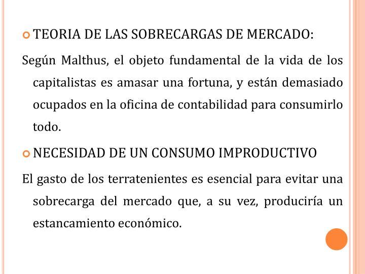 TEORIA DE LAS SOBRECARGAS DE MERCADO: