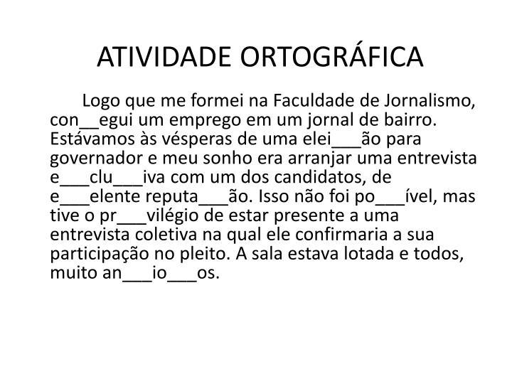 ATIVIDADE ORTOGRÁFICA
