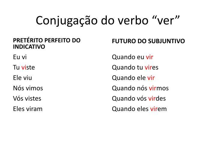"""Conjugação do verbo """"ver"""""""