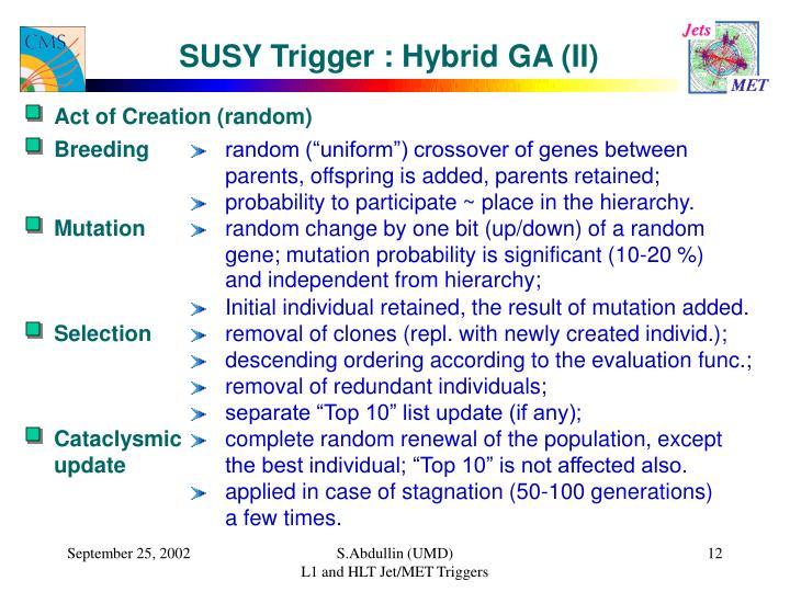 SUSY Trigger : Hybrid GA (II)
