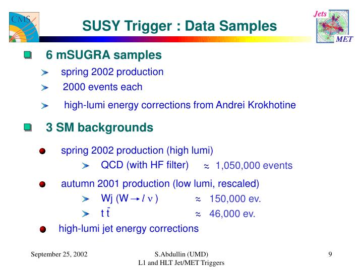 SUSY Trigger : Data Samples