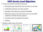 hefs service level objectives
