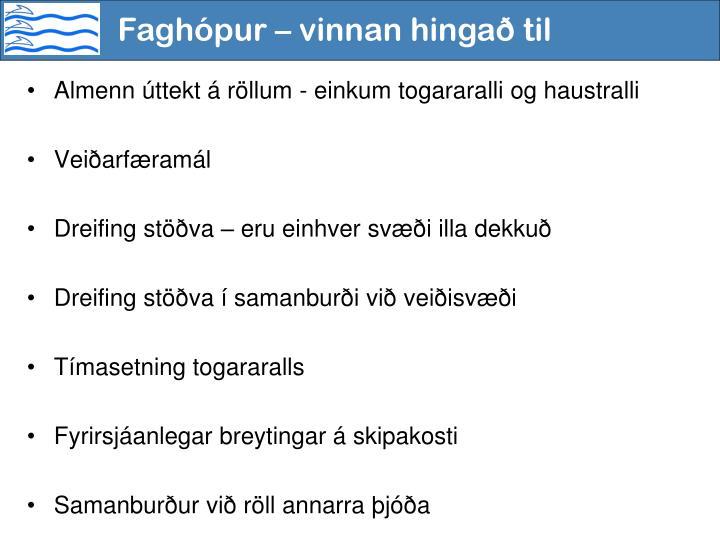 Faghópur – vinnan hingað til