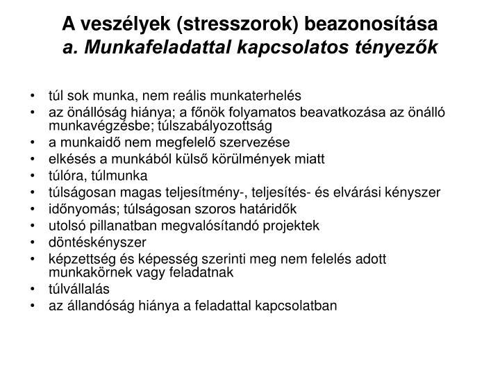 A veszélyek (stresszorok) beazonosítása
