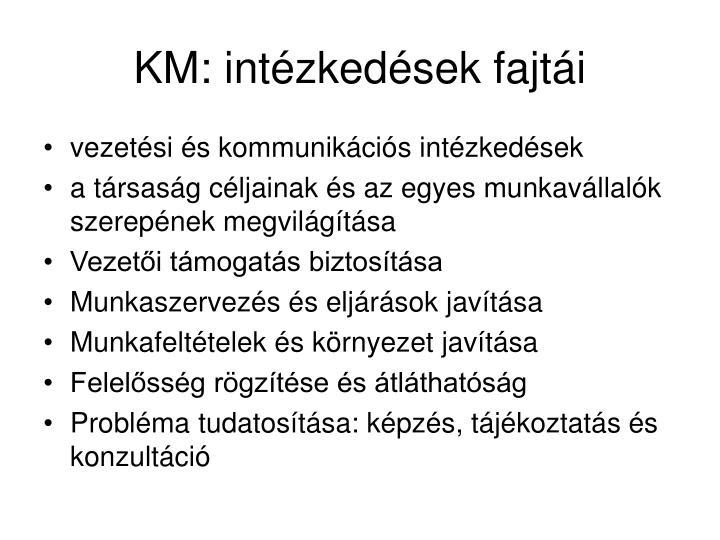 KM: intézkedések fajtái