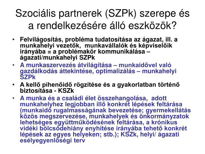 Szociális partnerek (SZPk) szerepe és a rendelkezésére álló eszközök?