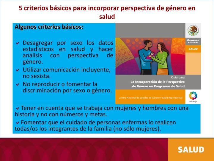 5 criterios básicos para incorporar perspectiva de género en salud
