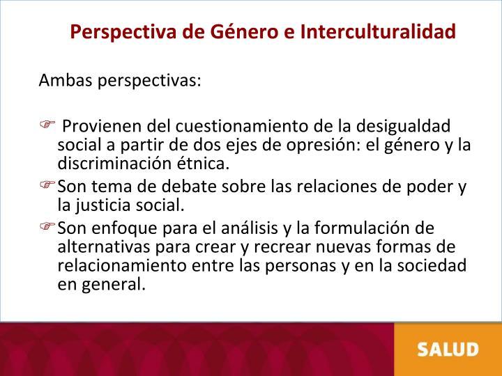 Perspectiva de Género e Interculturalidad