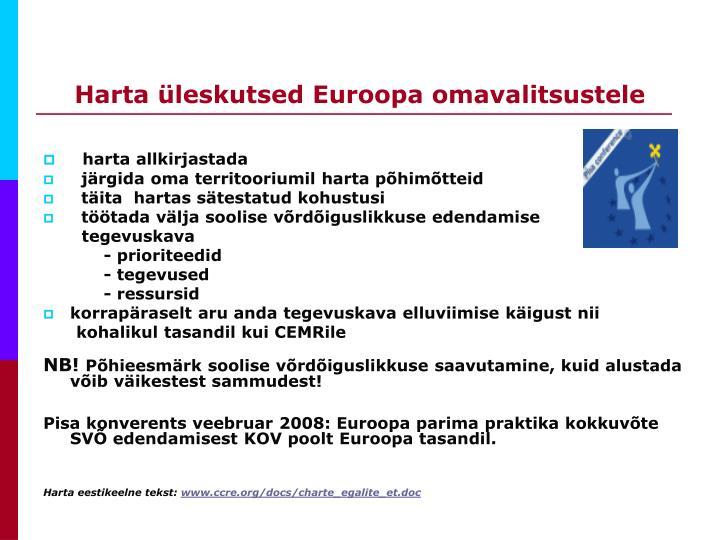Harta üleskutsed Euroopa omavalitsustele