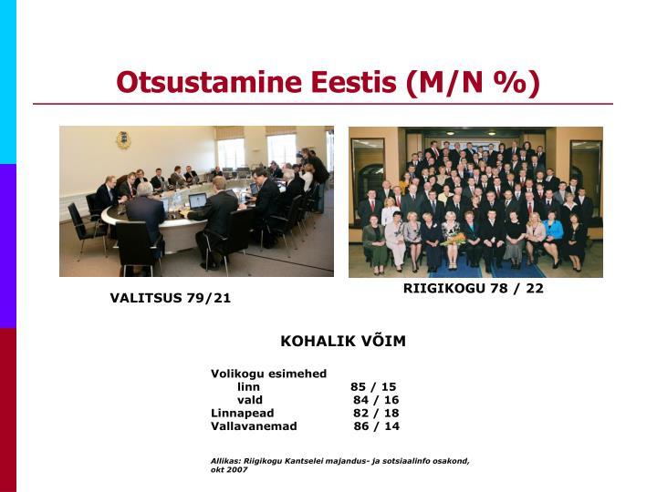 Otsustamine Eestis (M/N %)