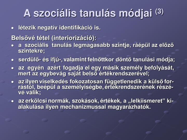 A szociális tanulás módjai