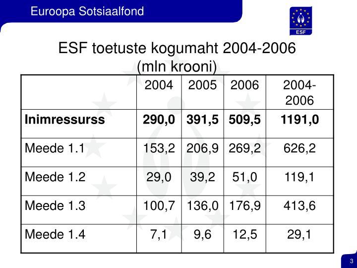 ESF toetuste kogumaht 2004-2006