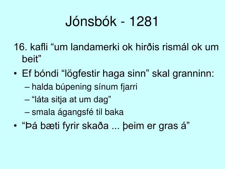 Jónsbók - 1281