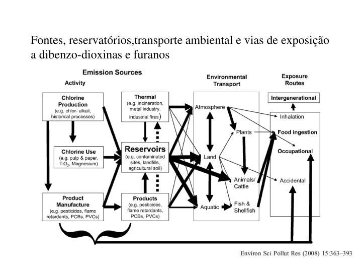 Fontes, reservatórios,transporte ambiental e vias de exposição a dibenzo-dioxinas e furanos