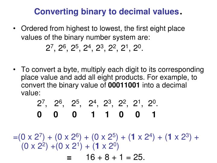 Converting binary to decimal values