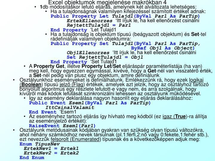 Excel objektumok megjelenése makrókban 4