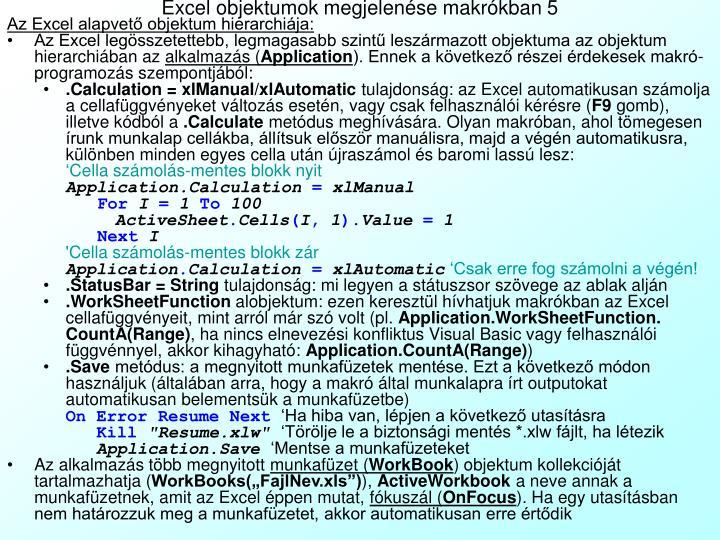 Excel objektumok megjelenése makrókban 5