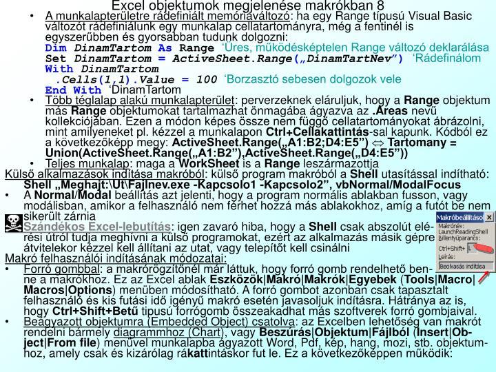 Excel objektumok megjelenése makrókban 8