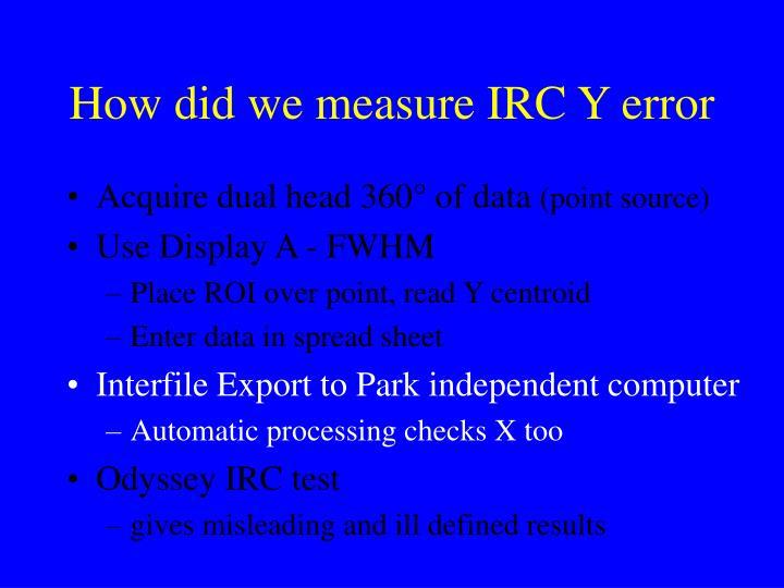 How did we measure IRC Y error