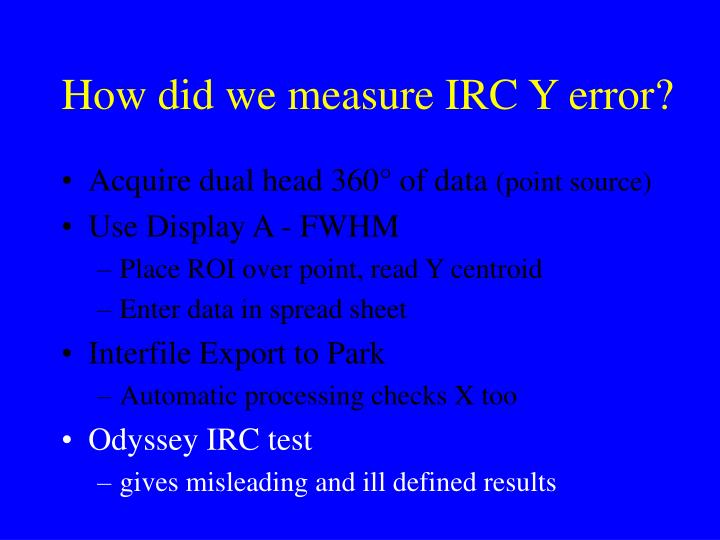 How did we measure IRC Y error?