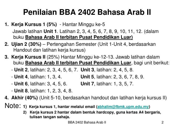 Penilaian BBA 2402 Bahasa Arab II
