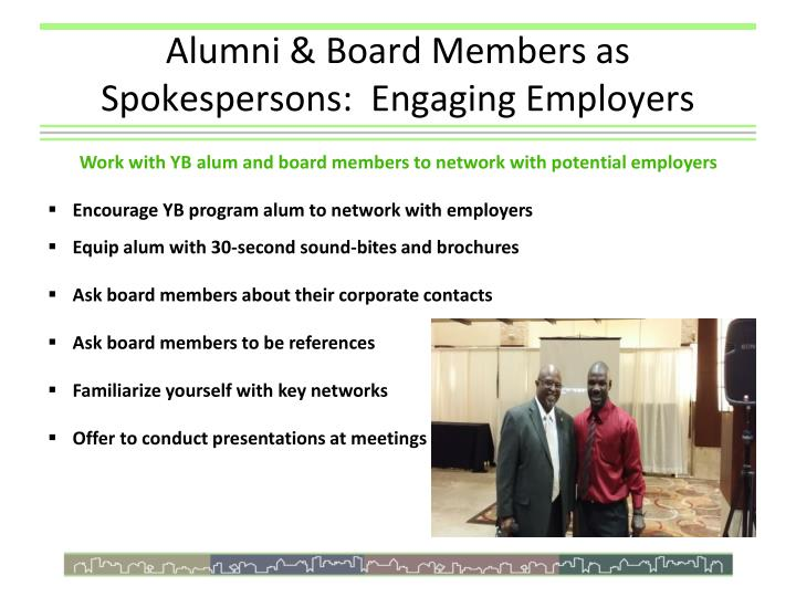 Alumni & Board Members as Spokespersons:  Engaging Employers
