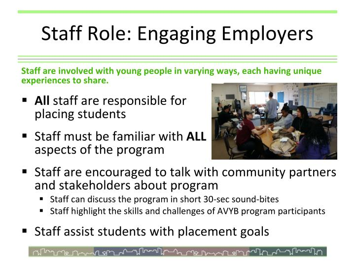 Staff role engaging employers