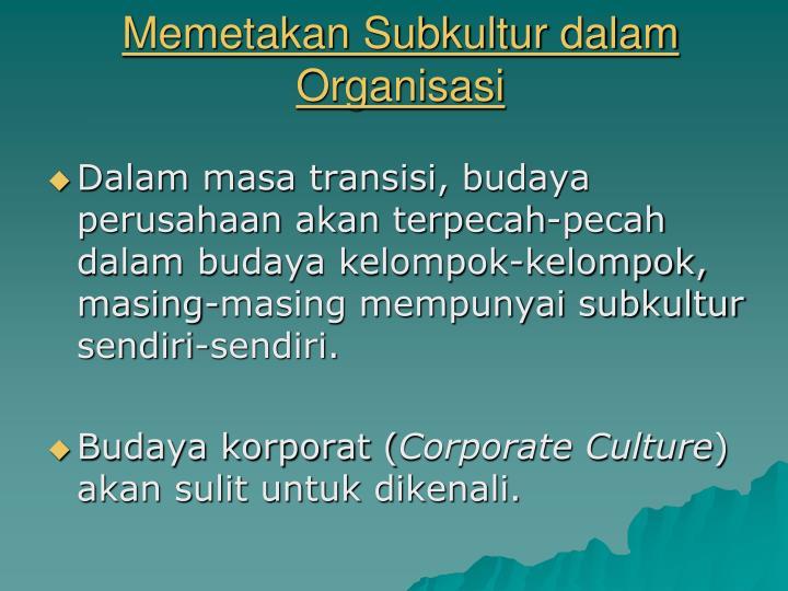 Memetakan Subkultur dalam Organisasi