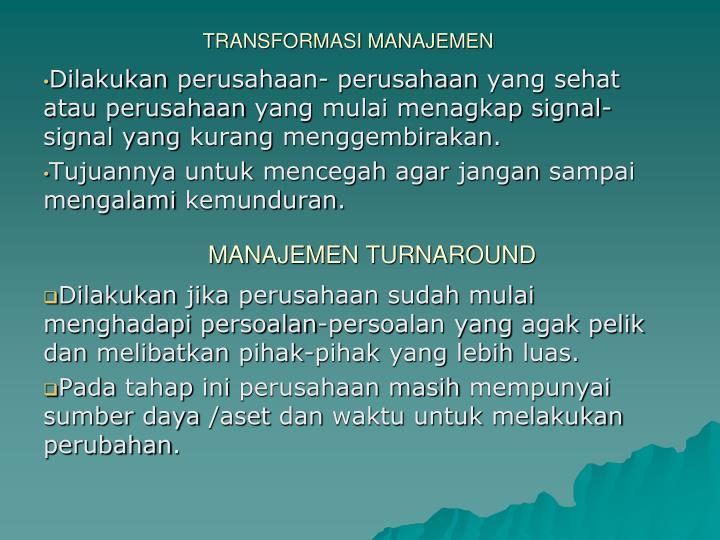 TRANSFORMASI MANAJEMEN