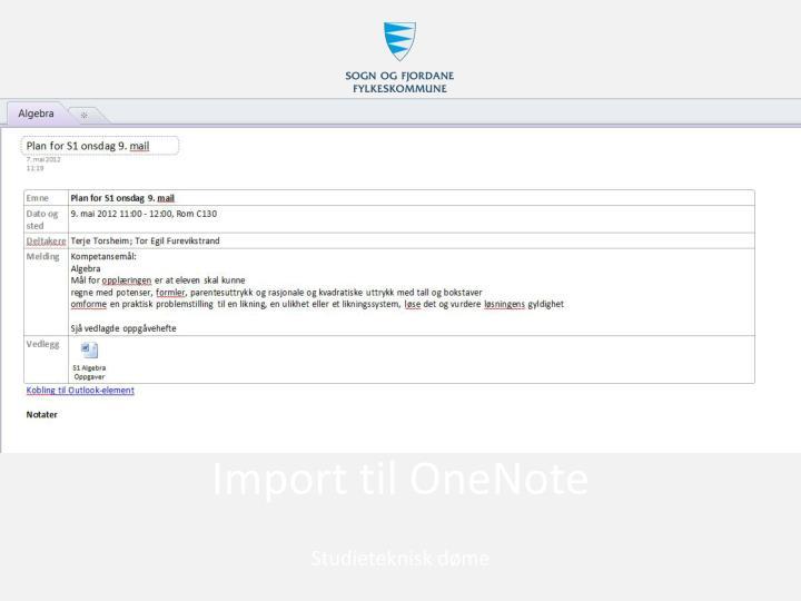 Import til OneNote