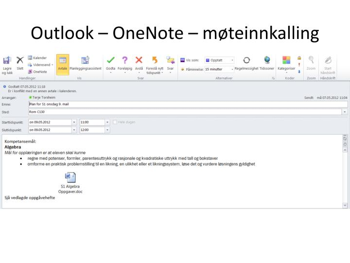 Outlook – OneNote –