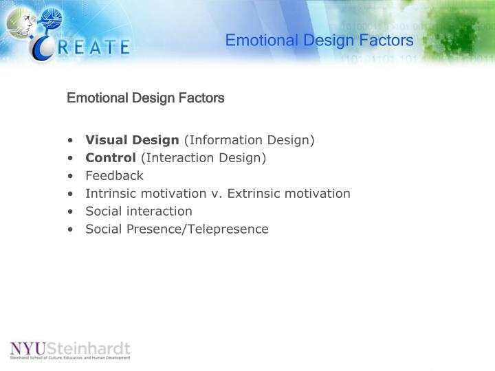Emotional Design Factors