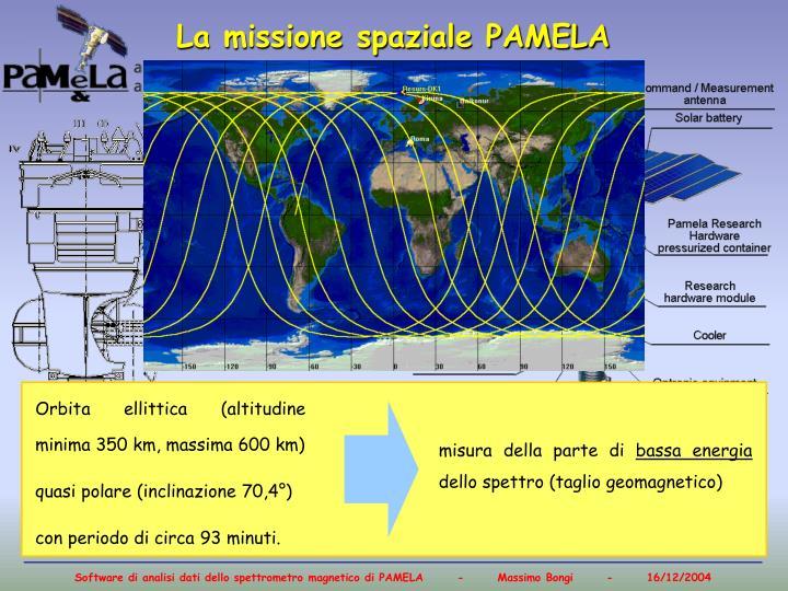 Orbita ellittica (altitudine minima 350 km, massima 600 km)