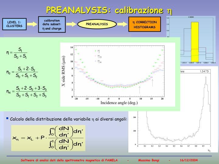 PREANALYSIS: calibrazione