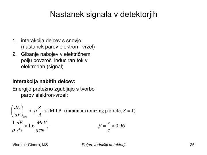 Nastanek signala v detektorjih