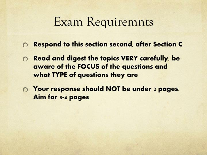 Exam requiremnts