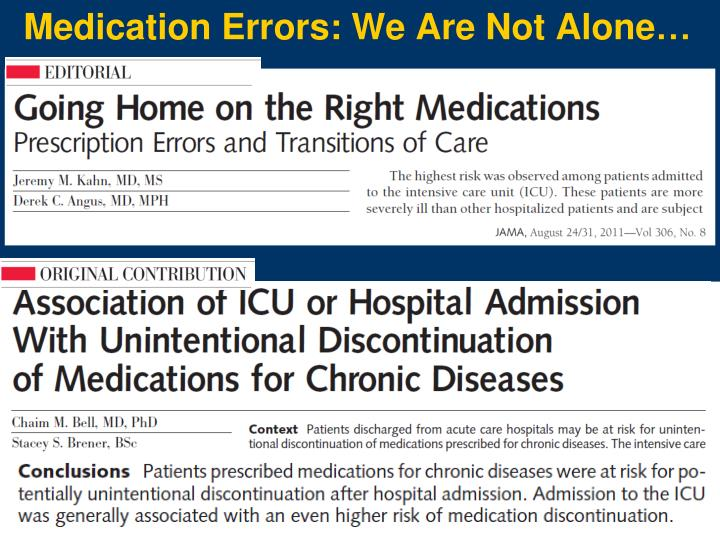 Medication Errors: We Are Not Alone…