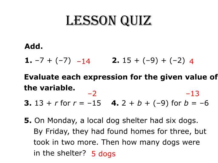 Lesson Quiz