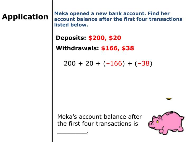 Meka opened a new bank account. Find her account balance after the first four transactions listed below.