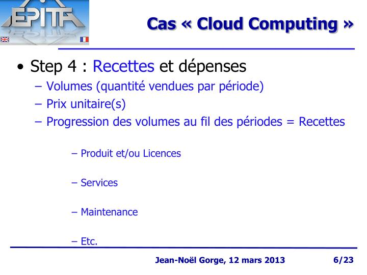 Cas «Cloud Computing»