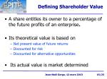 defining shareholder value
