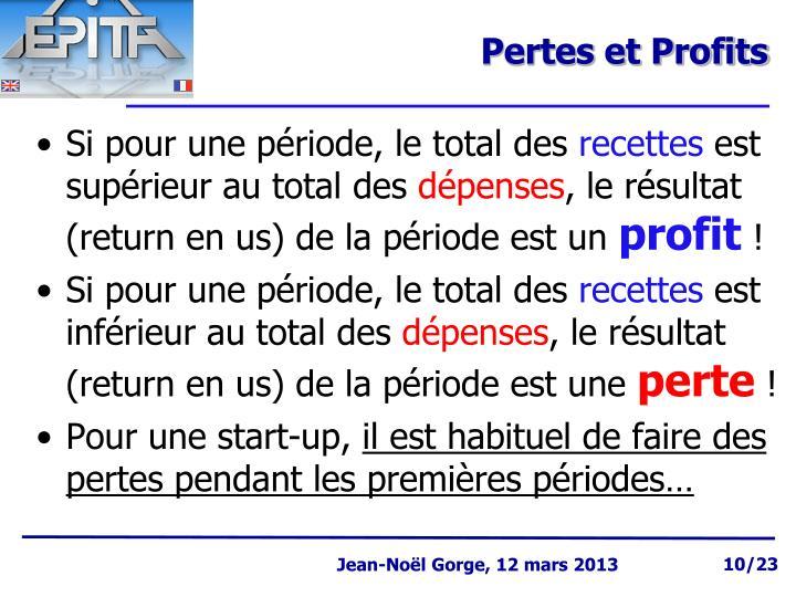 Pertes et Profits