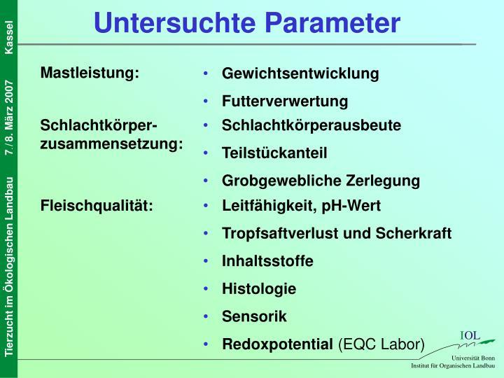 Untersuchte Parameter