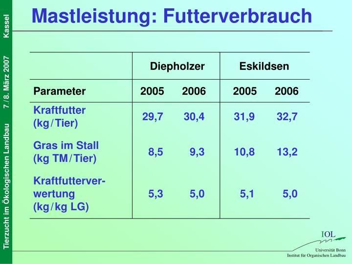 Mastleistung: Futterverbrauch