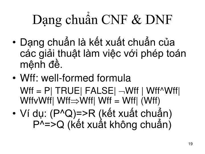 Dạng chuẩn CNF & DNF