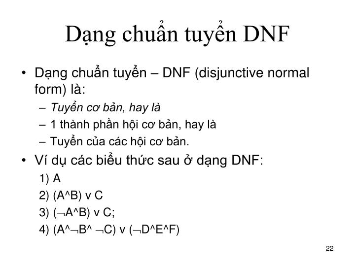 Dạng chuẩn tuyển DNF