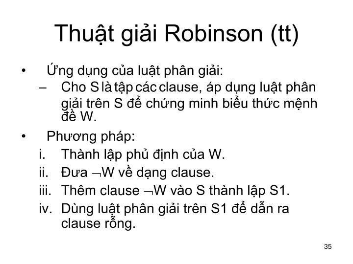 Thuật giải Robinson (tt)
