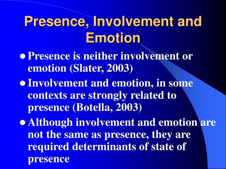 Presence, Involvement and Emotion