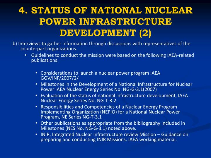 4. STATUS OF NATIONAL NUCLEAR POWER INFRASTRUCTURE DEVELOPMENT (2)